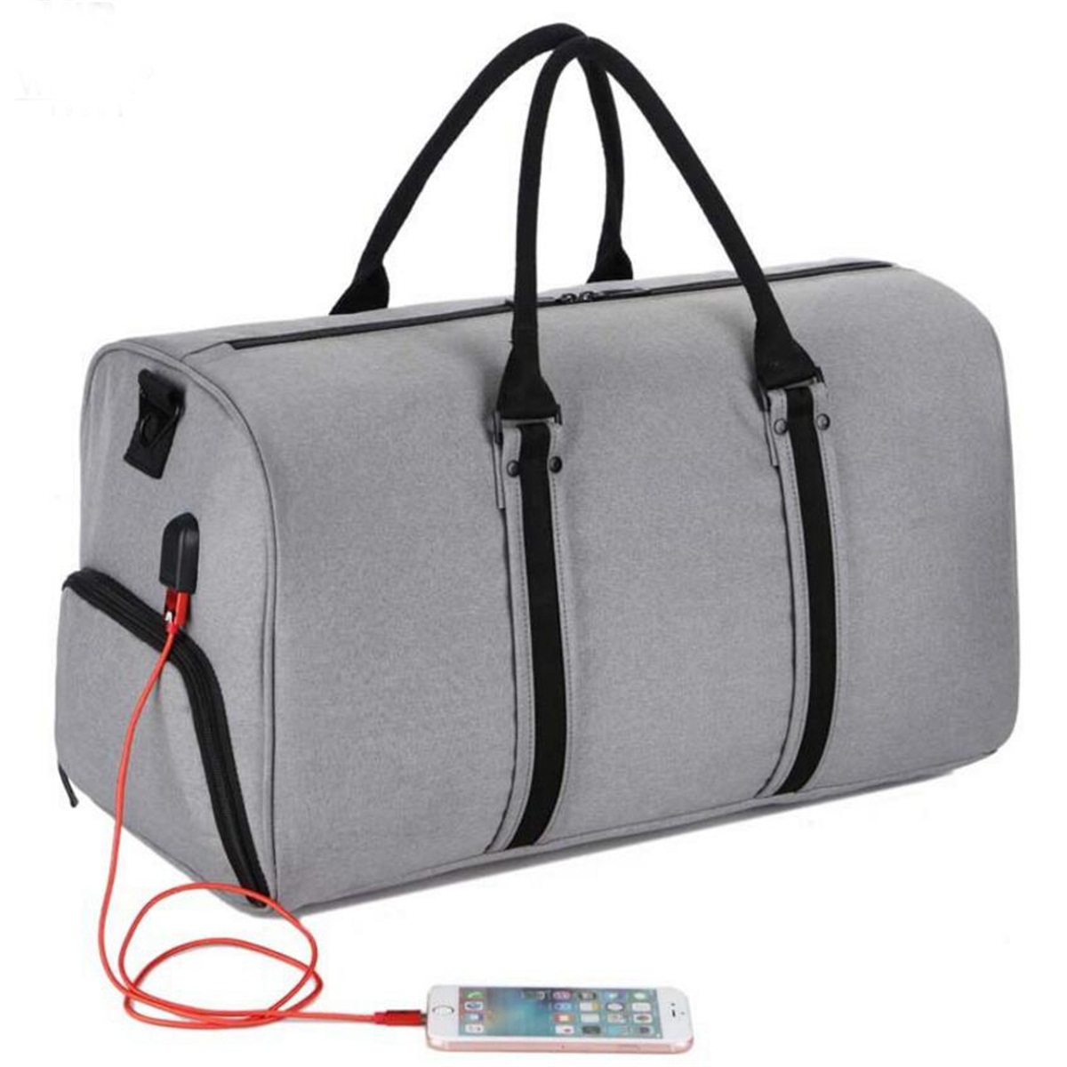 Recycle Material USB sports bag with shoe compartment